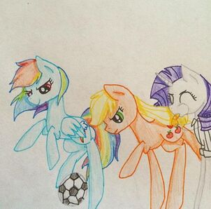 FANMADE Rarity, Rainbow Dash, and Applejack playing soccer