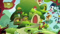 Fluttershy's Cottage exterior at midday S7E12