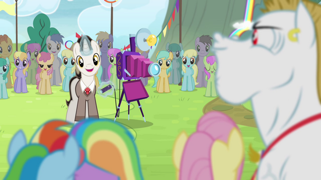 File:Timekeeper taking Ponyville team's photo S4E10.png