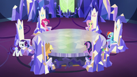 Main cast at their thrones; Rarity walking S5E19