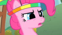 Pinkie Pie wearing her parasol headgear S1E15