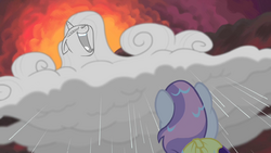 Sweetie sees Rarity-cloud laughing maniacally S4E19.png