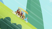 Rainbow Dash stopping the cart S2E8
