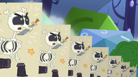Skeleton puppets charge from the left S6E17