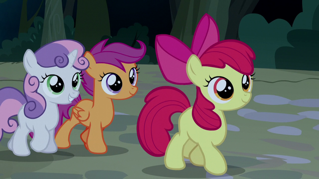File:Cutie Mark Crusaders listen to Trouble Shoes S5E6.png
