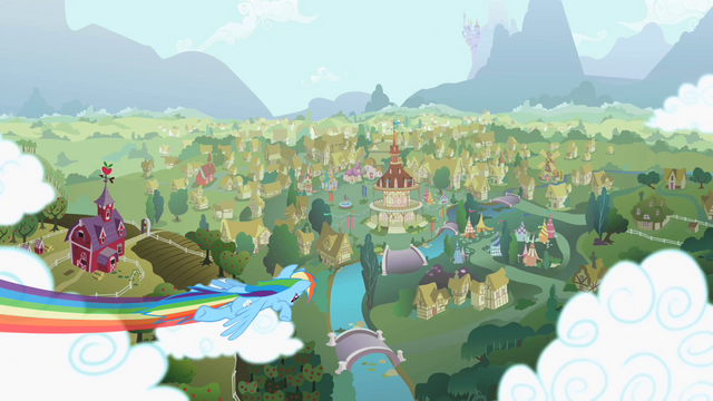 File:Rainbow Dash zooming over Ponyville S2 Opening.png