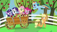 Applejack and friends on apple cart ride S7E2