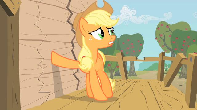 File:Applejack putting hoof on wall S1E18.png