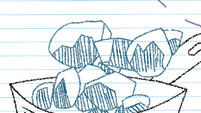 Drawing of rocks being dropped into the cooking pot S4E18