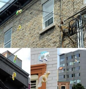 FANMADE Street art hanging My Little Ponies in Quebec City