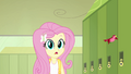Fluttershy realizes she's late for class EG.png