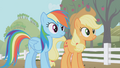 Rainbow and Applejack side by side S1E03.png