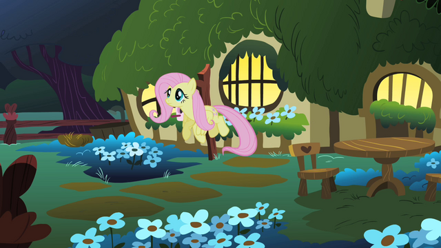 File:Fluttershy flies out of her cottage to look for the CMC S1E17.png