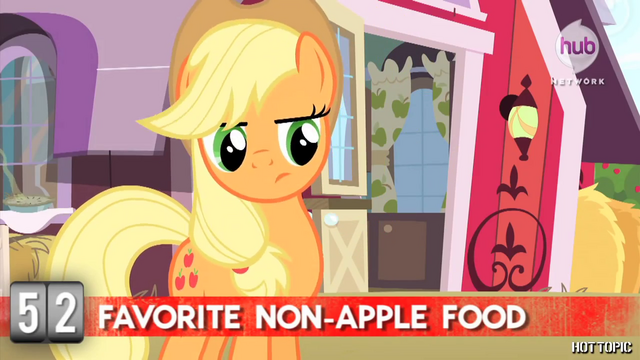 "File:Hot Minute with Applejack ""do they even make food without apples?"".png"
