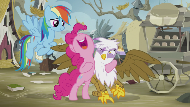 File:Pinkie holding Gilda uncomfortably close S5E8.png