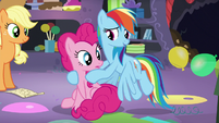 "Rainbow ""across Equestria to plan one party?"" S5E11"