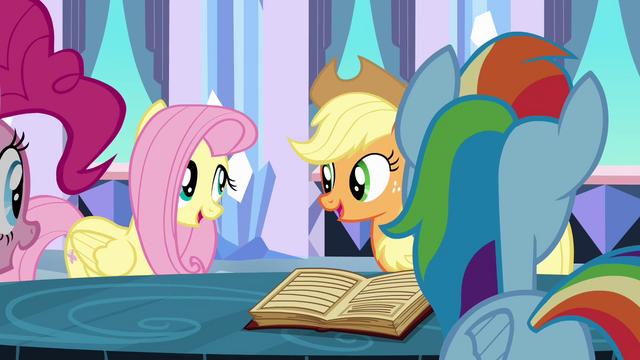File:Applejack and Fluttershy singing S3E1.png