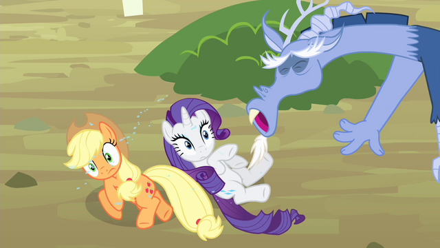 File:Discord sneezes at AJ and Rarity S4E11.png