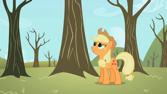 File:Applejack wondering about the theft of her apples S2E10.png