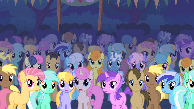 File:Ponies stare at the Cutie Mark Crusaders S01E18.png