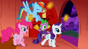 Rainbow Dash, Rarity and Pinkie Pie taking their tickets S01E03.png