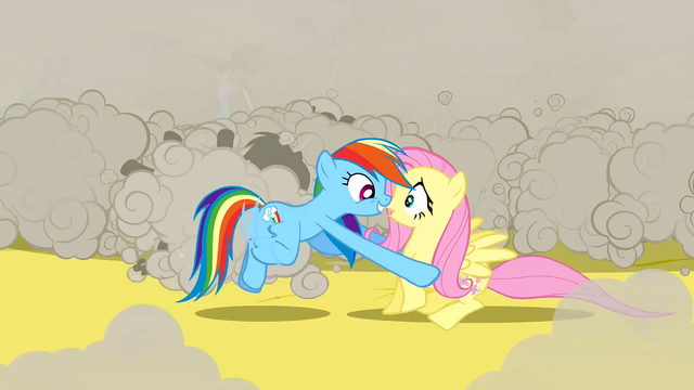 File:Rainbow Dash picking up Fluttershy S2E26.png
