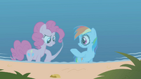Pinkie trying to hoof bump Rainbow S1E05