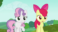 Apple Bloom impressed by Rarity's cart S6E14