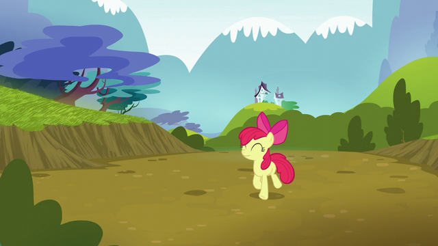 File:Apple Bloom trots happily back to Ponyville S5E4.png