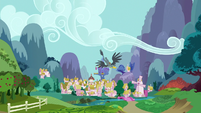 Gabby flying to Ponyville S6E19