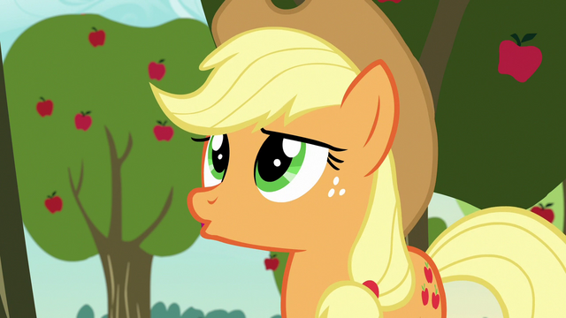 "File:Applejack ""although..."" S7E9.png"