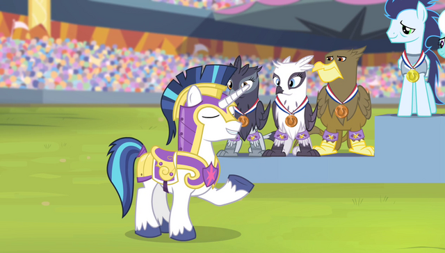 File:Shining Armor announcing the anthem S4E24.png