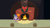 Spike storytelling to the left of the fireplace S2E11