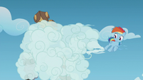 Young Rainbow blows clouds in the Boy Bullies' faces S5E8