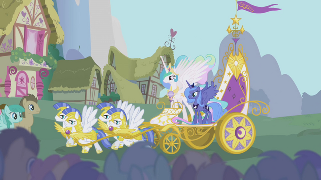 File:Celestia and Luna ride a chariot into Ponyville S1E02.png