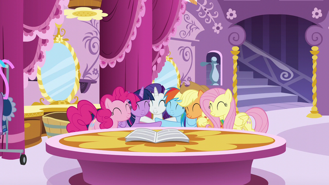 File:Mane Six group hug around Rarity S6E9.png