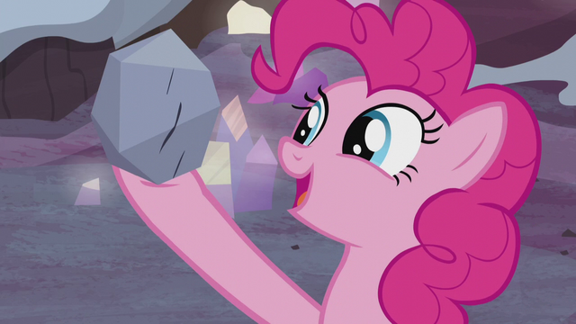 File:Pinkie Pie holding up a small rock S5E20.png
