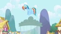 Rainbow Dash jumping on a rain cloud S1E01