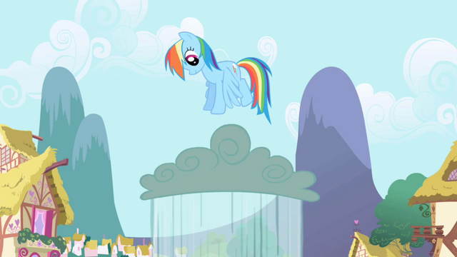 File:Rainbow Dash jumping on a rain cloud S1E01.png