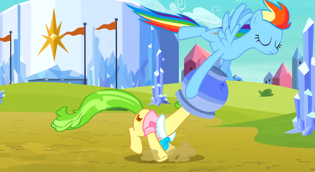 File:Rainbow pulling the flowerpot off Ms. Peachbottom's head S3E12.png
