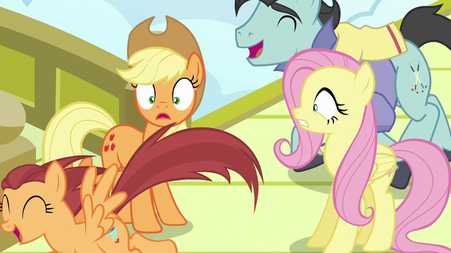 File:Applejack and Fluttershy surprised by pony crowds S6E20.png
