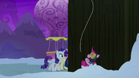Spy Pinkie Pie falling into the snow S7E11