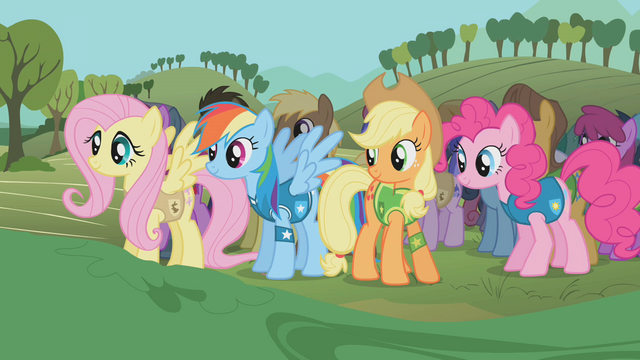 File:The ponies await the mayor's words S1E11.png