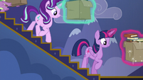Twilight and Starlight carrying books downstairs S6E25