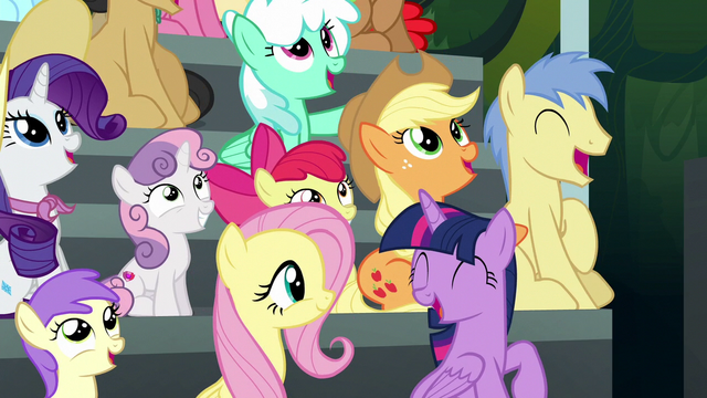 File:Twilight and ponies impressed by Wonderbolts S6E7.png