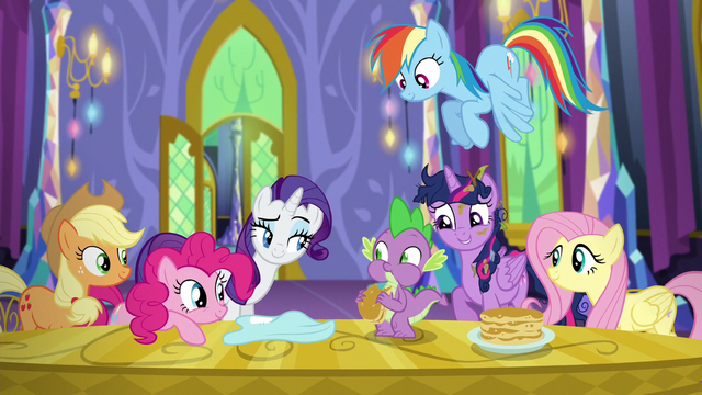 File:Mane Six stare at Spike S5E3.png