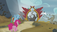 Rainbow and Pinkie leaving Griffonstone S5E8
