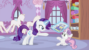 Rarity showing newspaper and her diary to Sweetie Belle S2E23.png