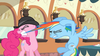 Pinkie Pie trying to pull Rainbow Dash's mane off S2E24