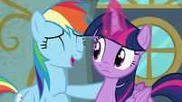 Rainbow Dash laughing playfully at Twilight S6E24